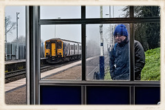 I Don't Think I'm In His Shot (whosoever2) Tags: uk united kingdom gb great britain england nikon d7100 train railway railroad january 2020 lostockgralam cheshire northwich northern rail class150 150214 2d45 manchester chester traveller passenger mist fog