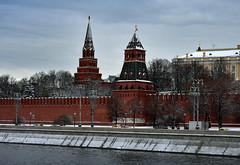 DSC_1859.1 (lyubshin2) Tags: russia moscow kremlin wall embankment taynitskaya tower winter snow fortress sky cityscape landmark heritage legacy brick red square river traveling tourism