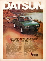 1974 Datsun Li'l Hustler Pickup Truck Nissan USA Original Magazine Advertisement (Darren Marlow) Tags: 1 4 7 9 19 74 1974 d datsun l lil h hustler p pick u up t truck c car cool collectible collectors classic a automobile v vehicle j jap japan japanese asian asia 70s