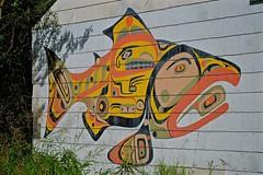 Tlingit Art on Old Building (MIKOFOX ⌘ 2020 Vision) Tags: mikofox showyourexif canada xt2 native learnfromexif summer art tlingit painting august provia fujifilmxt2 wallart culture xf18135mmf3556rlmoiswr