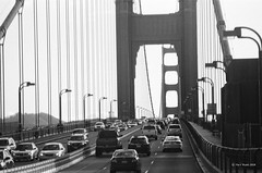On Golden Gate Bridge (markjwyatt) Tags: zeissikoniia ilford fp4 monochrome bw film analog goldengatebridge sanfrancisco california cars fromcar carlzeissjena135mmf4sonnar