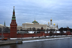 DSC_1798.1 (lyubshin2) Tags: russia moscow kremlin wall towers orthodox cathedral ivan belltower winter snow river embankment water sky domes golden red stars brick fortress heritage legacy panorama view