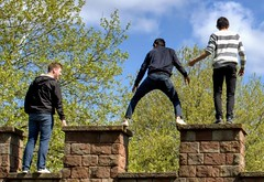 Kids playing on a monument in Manchester (Tony Worrall) Tags: street kids young man play manchester urban areas castle ruins building arch structure location place visit visitors tourists playing standing candid streetphotography ontop battlements roman north northernway northwest greatermanchester nice fun english great gang climb climbing jump youths