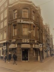 Corner Cafe (Quetzalcoatl002) Tags: amsterdam citycenter cafe cafelos oldcity street streetshot sepia bavaria dutch seagull