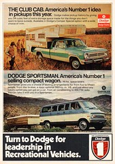 1973 Dodge Recreational Vehicles Club Cab Pickup Truck & Sportsman Wagon Chrysler USA Original Magazine Advertisement (Darren Marlow) Tags: 1 3 7 9 19 73 1973 d dodge r recreational v vehicles s sportsman w wagon c club cab p pick u up camper ar chrysler cool collectible collectors classic a automobile vehicle us usa united states american america 70s
