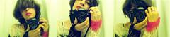 Me x 3 (Gabriella Ollandini) Tags: portrait selfportrait analog analogica analogue woman lady face human camera triptych fashion rock red lipstick hands filmisnotdead filmphotography filmcamera film mature kodak 50mm 35mm three mohair sweater ricoh kr5 retro vintagecamera