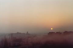 Grainy city (csitarydavid) Tags: grainy sunrise sun city cityscape zenit3m zenit helios44 helios agfavista agfa filmcamera film analogcamera analog hungary székesfehérvár
