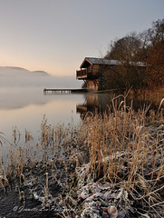 A Day To Remember (jeanette_lea) Tags: landscape united kingdom ullswater the lake district cumbria duke of portland boathouse sunrise dawn lowlight frost snow mist cloud sky reflections fells frozen leaves long grasses trees water