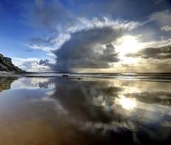 Cloudbroke (pauldunn52) Tags: beach reflection cloud rain glamorgan heritage coast wales