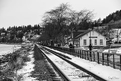 White Rock Historic Train Station - West Beach (SonjaPetersonPh♡tography) Tags: whiterock whiterockpromenade whiterockpierpromenade whiterockpier blackwhite southsurrey westbeach promenade pier cityofwhiterock city community railroad station bc britishcolumbia canada nikon nikond5300 nikonafsdxnikkor18300mmf3556gedvr snow winter 2020 visitors tourists blackwhitephotography historictrainstation historicbuilding seasidecommunity