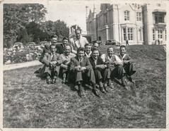 Group of men by a large house (Colin John Ford) Tags: found old vintage group men house grass