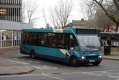 AMN 2501 @ Shrewsbury bus station (ianjpoole) Tags: arriva midlands optare solo m920 yj57ekb 2501 working route 8 shrewsbury bus station sutton shops farm