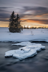 Winter River (Lars Øverbø) Tags: winter snow frost ice water river tree sky sunset canoneos5dmarkii canonef1635mmf4lusm leendgrad leend norway norge sjusjøen lillehammer
