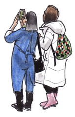 toeristen / tourists (h e r m a n) Tags: toeristen tourists tweevrouwen twowomen mobilephone mobile mobiel iphone camera foto fotograaf photographer photo rotterdam hoogstraat