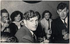 Men drinking beer (Colin John Ford) Tags: found old vintage social group men women beer drinks