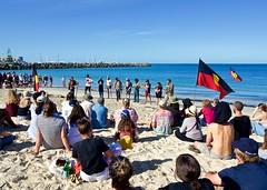 Words from the Heart (Padmacara) Tags: australia fremantle oneday ocean sand beach people aboriginalflag