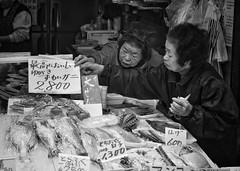 catch of the day (gro57074@bigpond.net.au) Tags: bw monochrome japan mono blackwhite nikon markets monotone monochromatic osaka tamron kuromonmarket fishmarkets 2470mmf28 d850 guyclift working january elderly fishmonger f63 2020 january2020 catchoftheday