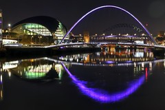 Tyne Waterfront 1 (Raphooey) Tags: gb uk england north east northeast tyne wear tyneside newcastle gateshead water waterfront quay quays river bank banks millennium bridge bridges sage theatre venue light lights night evening reflection reflections canon eos 6d mk mark ii 2 road rail pier piers