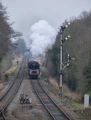 Pines Express (Mirrorfinish) Tags: 9f 92214 brstandard9f steam railway train locomotive semaphores signals greatcentralrailway gcr gala quornandwoodhouse leicestershire