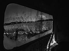 R0021220-Edit (MINUTEART) Tags: window windowpane glass car carglass bnw bw blacknwhite blackandwhitephotography old deserted feeling blacknwhitephotography gotland sweden countryside ricoh ricohgr swedishphotographer