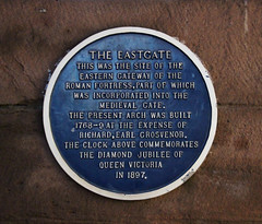 Chester Eastgate Plaque (big_jeff_leo) Tags: chester cheshire wall blueplaque blue england historic roman