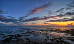 Sunrise, Spain (Vest der ute) Tags: spain sunrise xt2 sea seascape clouds cloudscape rocks sky fav25
