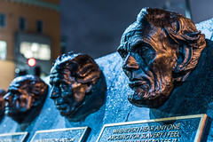 land of lincoln (pbo31) Tags: oakland california eastbay alamedacounty city urban nikon d810 color night dark january 2020 boury pbo31 winter art civilrights monument rememberthem bronze leaders humanity peace history uptown president lincoln america blue