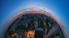 Planet Berlin (Light Levels Photoworks) Tags: berlin panorama planet sunset skyline deutschland germany city cityscape citylights photoshop nikon nikkor night urban architecture architektur allemagne adventure atmosphere dämmerung twillight