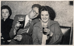 Couple drinking beer (Colin John Ford) Tags: found old vintage social group men women beer drinks