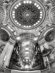 St Paul's Cathedral (Thecameralooksbothways) Tags: blackandwhite mono monochrome fisheye wideangle wideboys stpaulscathedral olympusem10 olympus samyangcsc75mmf35umcfisheyemftoly samyang samyangcsc75mmf35umcfisheyemft