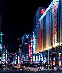 Ginza (nikkorglass) Tags: ginza tokyo japan d700 2470f28 nikon nikkor street lights neon 2013
