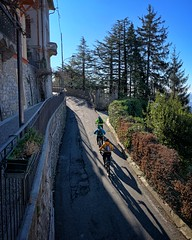 Reaching the Summit (mswan777) Tags: mountain city street up climb bicycle shadow summit outdoor brunate italy apple iphone iphoneography mobile tree urban sky blue building exercise people