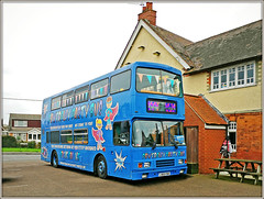 Powerplay! (Jason 87030) Tags: powerplay fun part bus event happy birthday barby pub carpark shot bluye doubledecker volvo olympian pow blue bunting decorations color colour unusual hire booking flags entertainment activity activities