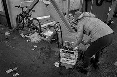 Transport (GColoPhotographer) Tags: streetphotography bergamo bw market bianconero street woman ortomercato blackandwhite bike cart