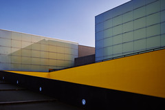 Cube (Fabrice .) Tags: building architecture poitier orange ligne cube ciel batiments reflets recflections fenetres