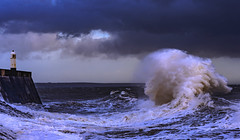 Wave (Wildlife & Nature Photography) Tags: water wave wales nature globalwarming environment lighthouse sea uk unitedkingdom seascape clouds porthcawl storm turbulent