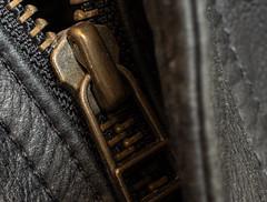 Black Leather Jacket (ertolima) Tags: black leather zipper macromondays unzip clothing coat jacket