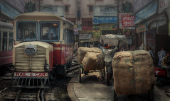 Railcar (brian_stoddart) Tags: india railways people street buildings busy crowded transport shops cargo hectic trains composite