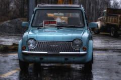 Made in Japan (* Gemini-6 * (on&off)) Tags: blue car automobile hdr wet rain transportation vehicle nissan truck bokeh graymarket rhd righthanddrive