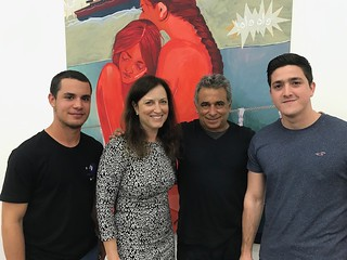 Mindy Solomon with Omar Lopez Chahoud and Serbian Barreto at the Lady Parts opening reception