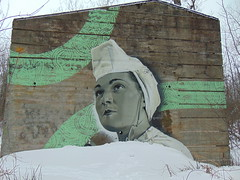 Tribute to the women of the 1940s (Quevillon) Tags: canada québec laurentides thérèsedeblainville blainville park boiséduplanbouchard campbouchard ammunitionfillingplant secondworldwar secondeguerremondiale vestige mural hsix carlosoliva