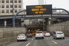 Reduce Speed (brucetopher) Tags: tunnel boston road drive driving highway city street streets car traffic busy roadway expressway centralartery
