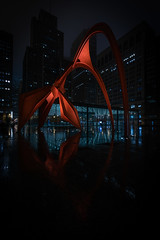 Escape the night (mark-marshall) Tags: chicago red architecture statue flamingo calderred night cityscapes reflections coth5