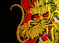 Enter the Dragon (L@nce (ランス)) Tags: macro hat embroidered dragon japanese gold red black micro nikkor nikon 55mmf28aismfmicronikkor