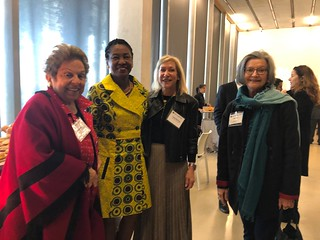 Congresswoman Donna Chalala with Marilyn Holifield at her book presentation at PAMM, in the photo with Tracey Tracey Berkowitz and Liana Perez