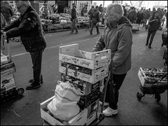 Stack (GColoPhotographer) Tags: streetphotography bergamo bw market bianconero street woman ortomercato blackandwhite bike cart