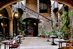 Palau Dalmases Flamenco (Fnikos) Tags: street building architecture door window wall column bar restaurant chair seat table stairs nature naturaleza natura plant color colour colores colours colors dark light shadow shadows patio inside indoor outside outdoor