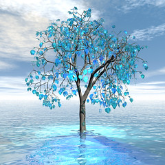 Crystal blue Tree (ICARUSISMARTDESIGNS) Tags: floral patterns art digitalart fantasy nature blue sea magical tree leaves magic ocean vintage retro modern contemporary sky clouds reflections magicaltree crystal surreal dreams vivid mythology color bryce daylight trees natural