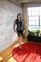PVC Peplum Dress7 (Hannah McKnight) Tags: pvc peplum vinyl littleblackdress leather model tgirl transgender transgirl stilettos