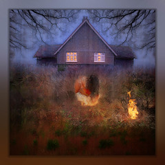 Meditation by the Light of a Fire (RCARCARCA) Tags: iphone hedge photoartistry dawn photoshop iphonexsmax meditation beesonendlane rawexchange conceptual topaz house iphoneography trees harpenden fire flames field